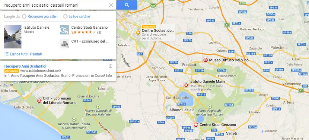 google maps recupero anni scolastici castelli romani
