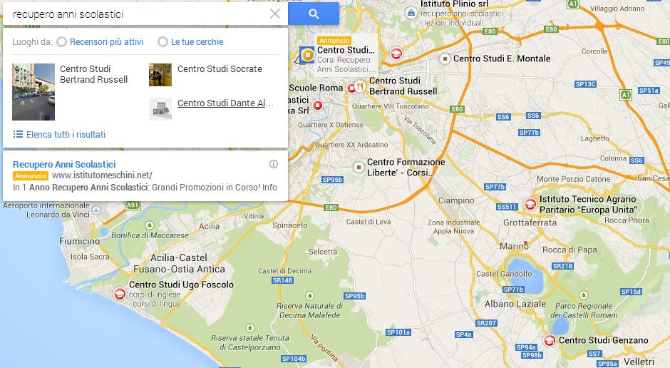 recupero anni scolastici google maps