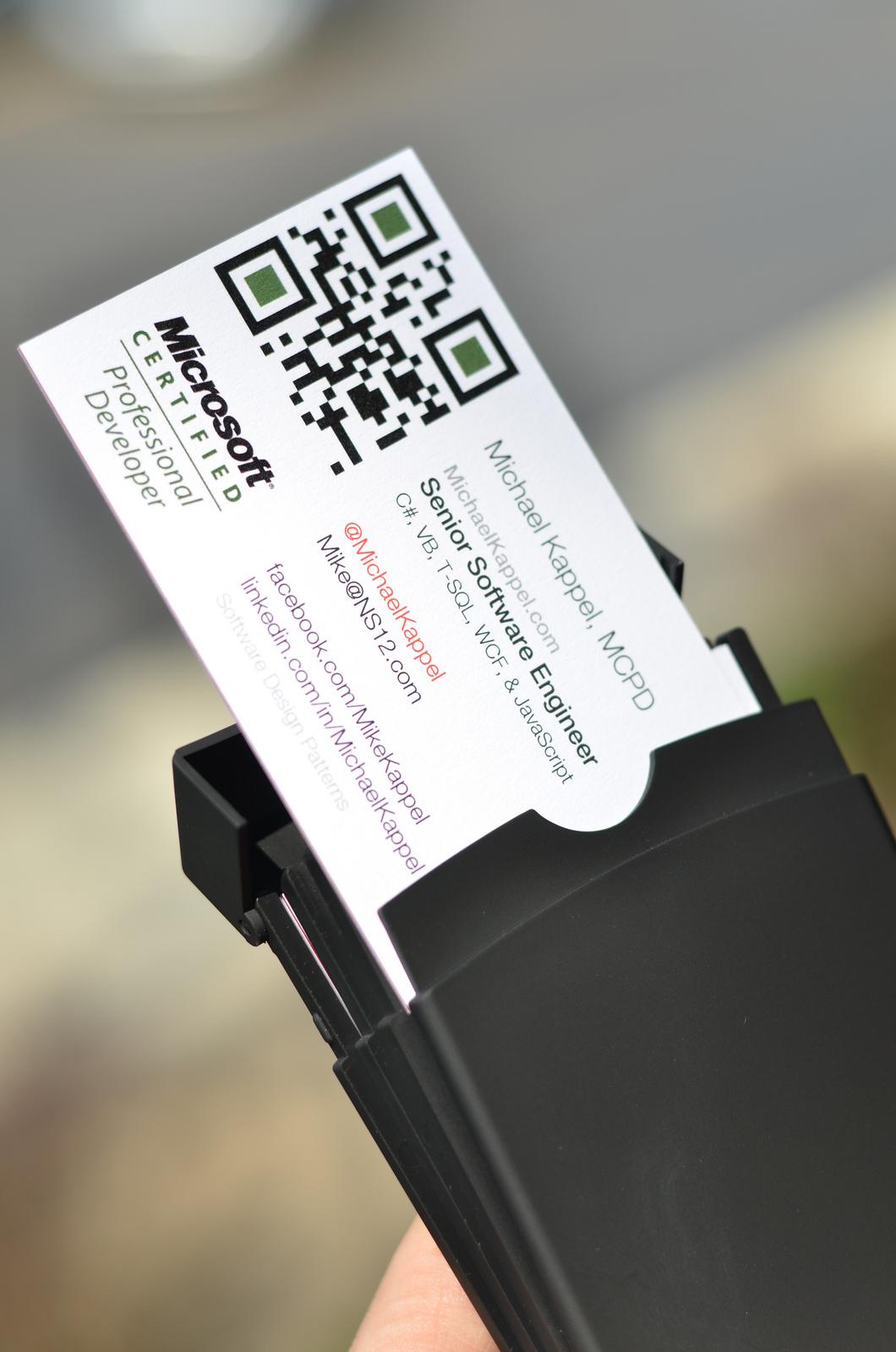 qr code su biglietto da visita