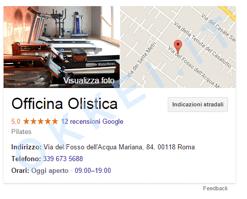 Biglietto da visita elettronico per aumentare recensioni su Google di Officina olistica - numero di recensioni