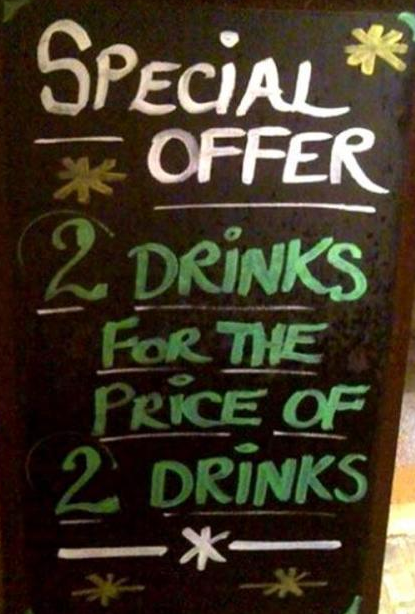 insegne di bar divertenti marketing per bar 2 drink al costo di 2 drink
