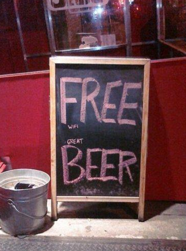 insegne di bar divertenti marketing per bar birra grandiosa wifi gratis