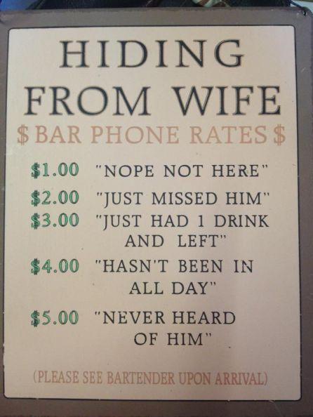insegne di bar divertenti marketing per bar scusa moglie