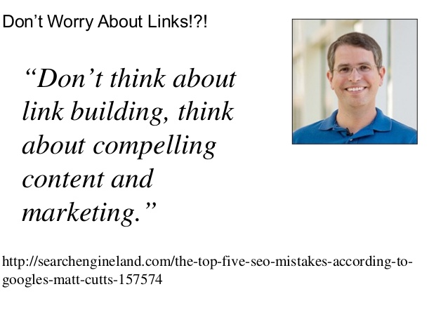 link building matt cutts meglio marketing e contenuti