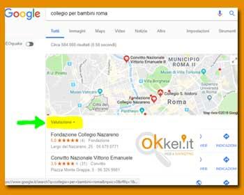risultati di una ricerca locale qualsiasi su google organizzati in base al valore medio delle recensioni