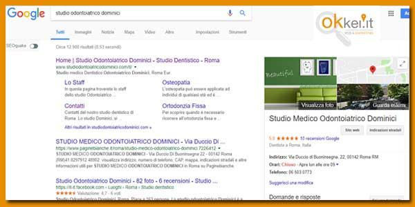 risultati google studio odontoiatrico dominici dentista a roma