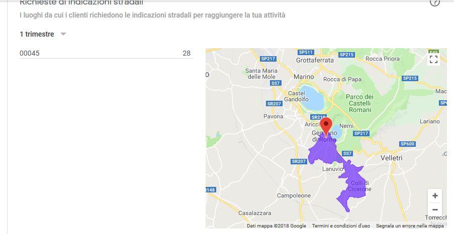 Statische indicazioni stradali scheda Google My business, da Genzano Roma