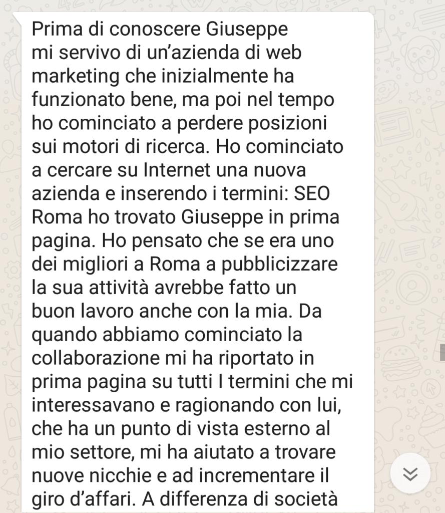 Recensione Mario per Giuseppe Schettino Web Marketing Roma Okkei 1