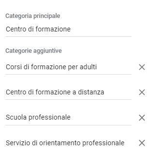 Gestione scheda Google ottimizzazione categorie